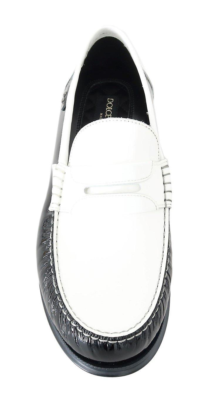 Dolce & Gabbana Black White Leather Loafers MV1690-4