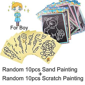 20pcs Early Educational Learning Creative Drawing Giocattoli per bambini - Magic Scratch Art Doodle Pad Sand Painting Cards Gifts Gyh