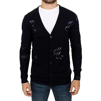 Karl Lagerfeld Karl Lagerfeld Blue Wool Cardigan Sweater SIG10582-1