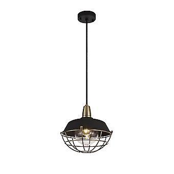 Luminosa Beleuchtung - Deckenanhänger, 1 Licht E27, IP65, Matt schwarz, antik Messing