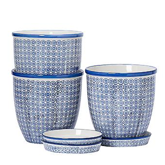 Nicola Spring 3 Piece Hand-Printed Plant Pot with Saucer Set - Porcelain Flower Pots and Drip Tray - Navy - 20 x 20.5cm
