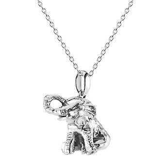 Dew Sterling Silver Sitting Elephant Oxidised Pendant 9756OX028