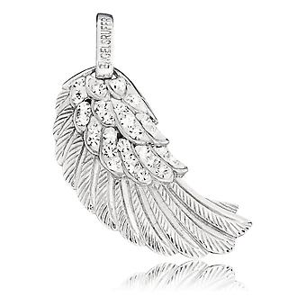 Angel Whisperer Angel Wing Sterling Silver Rhodium Banhado Zirconia 29mm Pingentes ERW-M-01-ZI