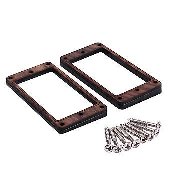 2STÜCKE Pickup Montage Ring gebogenen unteren Rahmen Holz schwarz Kunststoff