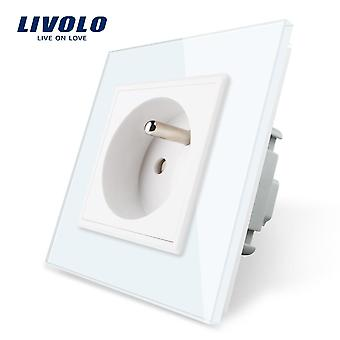 New Outlet Standard Wall Power Socket, White Crystal Glass Panel