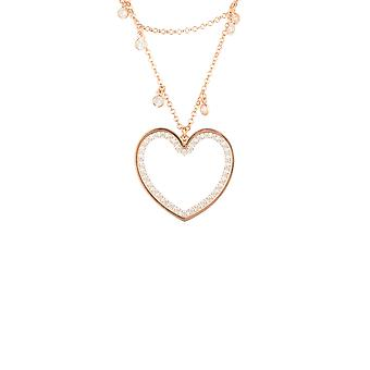 Large Pink Love Heart Bridal Jewellery Rose Or Double Strand Choker Collier