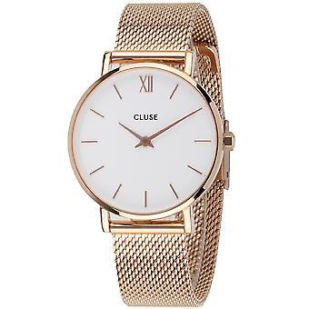 Cluse CW0101203001 Minuit White Dial, Rose Gold Tone Mesh Wristwatch
