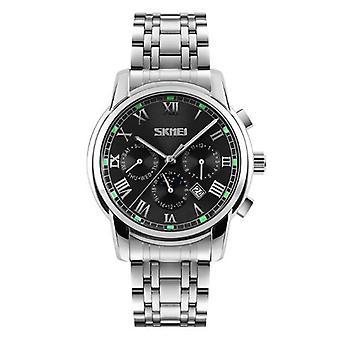 SKMEI 9121 Casual Män Kvarts Watch Lyx rostfritt stål Rem Datum Display