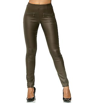 Ladies Leather Jeggings Biker Treggings Slim Faux Leather Pants Stretch Skinny