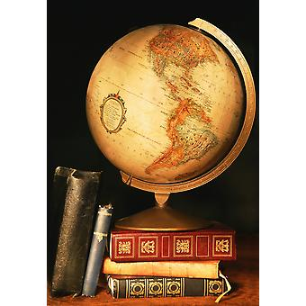 الكرة الأرضية والكتب بوستيربرينت
