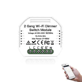 2 Gang Wifi Dimmer Switch -with Remote Control