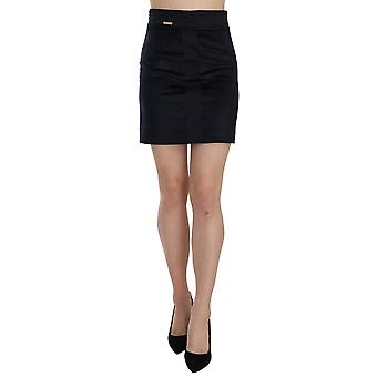 Blue Cotton Blend High Waist A-line Mini Skirt