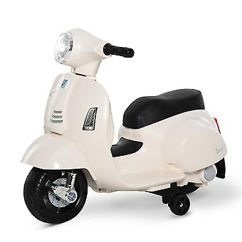 HOMCOM Compatible Kids Ride On Motorcycle Vespa Licensed 6V Battery Powered Electric Trike Toys for 18-36 Months with Horn Headlight White