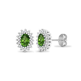 Jewelco Londen 9ct witgoud cluster set ronde H I2 0,25 CT diamant en ovale groene 1ct Emerald cluster Stud Earrings