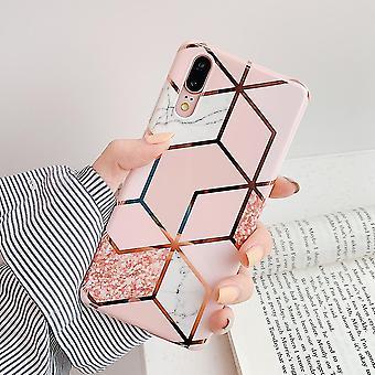 Vysoko kvalitné mäkké imd pokovovanie geometrické mramorové puzdro na telefón, kryt