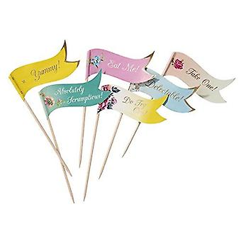 Alice in Wonderland Canape Food Flags New style x 24 Vintage Floral Wedding Party