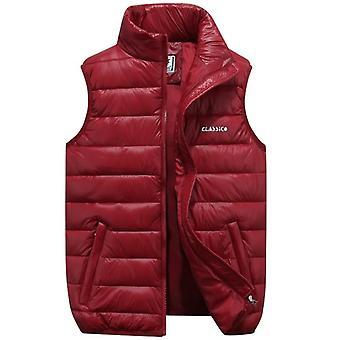 Zimní teplá bunda bez rukávů Vesta ležérní tlustá bavlněná polstrovaná vesta
