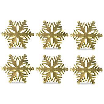 Dii Gold Snowflake Napkin Ring (Set Of 6)