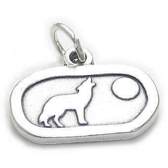 Wolf Howling At The Moon Sterling Silver Charm .925 X 1 Wolves Charms - 3738