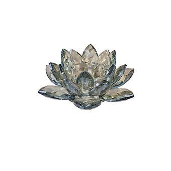 """Crystal 8.25"""" Lotus Votive Candle Holder, Blue"""