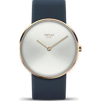 VOTUM - Reloj de señoras - CÍRCULO - Puro - V01.20.10.02 - correa de cuero - azul