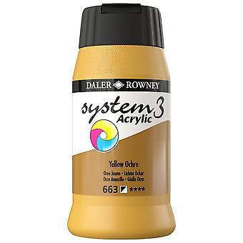 Daler Rowney System 3 Acrylic Paint Yellow Ochre (500ml)