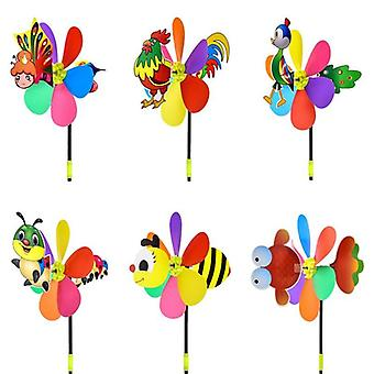 Colorful Plastic Windmill Pinwheel Self-assembly Home Garden Yard Outdoor's Toy