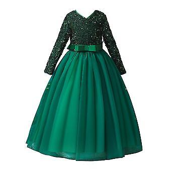 Flitre Čipka Dievčatá s dlhým rukávom Party Dresse Green 4-5Years Starý