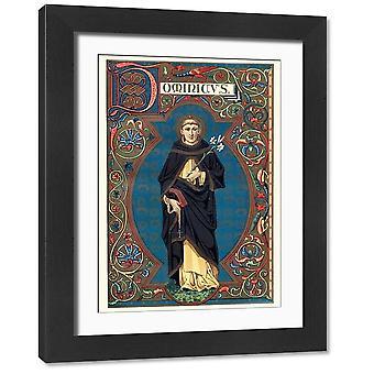 Pyhä Dominic. Suuri kehystetty valokuva. Saint Dominicin vintage-kaiverrus, joka tunnetaan myös nimellä Dominic of.