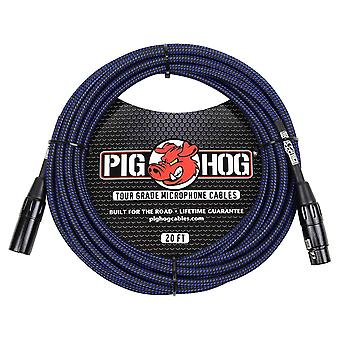 Pig hog phm20bbl black/blue woven high performance xlr microphone cable, 20 feet
