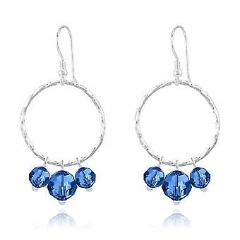 Silver blue  earrings with swarovski crystal