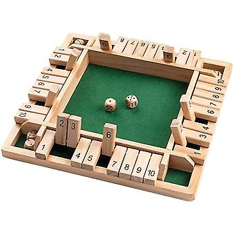 DZK Shut The Box, Wooden Board Game Mathematic Traditional Dice Game A Classic Family Math Game for