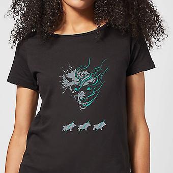 Magic Of The Gathering Throne of Eldraine Big Bad Wolf Womens T-Shirt - Black