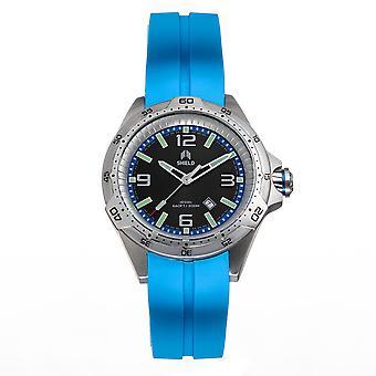 Shield Vessel Strap Watch w/Date - Light Blue