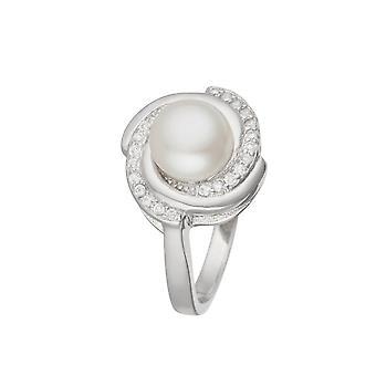 Silverring, vit odlad pärla och zirkoniumoxider 'apos;Kvällens pärla';