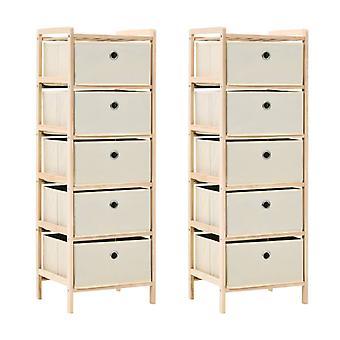 vidaXL Storage racks with 5 fabric baskets 2 pcs. Beige cedar wood