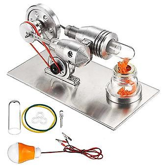Stainless Mini Hot Air Stirling Engine Motor Model Educational Toy Kit