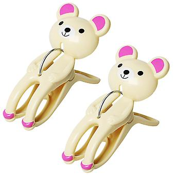 2pcs cartoon bear clip thick and durable clothes drying mosquito net clip