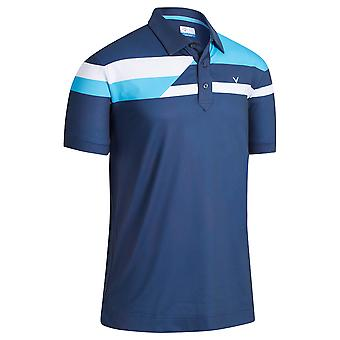 Callaway Golf Mens 2021 2021 Stacked Block Wicking Stretch Golf Polo Shirt