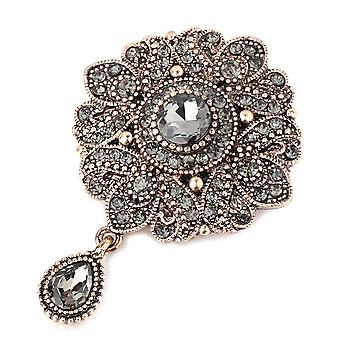 Crystal Flower Broche Pin, Antieke Arabesque Strass Revers Sjaal Broches