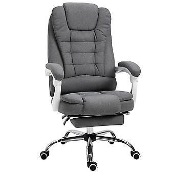 Vinsetto Office Chair Computer Swivel Rolling Task Recliner for Home with Retractable Footrest, Arm, Grey