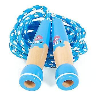 חבל קפיצת צעצוע כחול לילדים מתכוונן דילוג חבל עם ידית עץ x2991