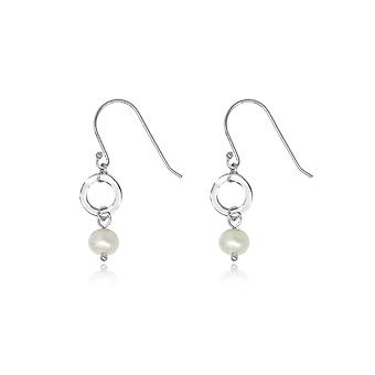 Boho betty ritter silver pearl & circle drop earrings
