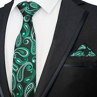 Темно-синий & яркий зеленый галстук Пейсли & карман площадь