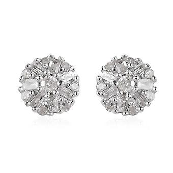 Diamond Cluster Earrings with Push Back in Platinum Plated Sterling Silver