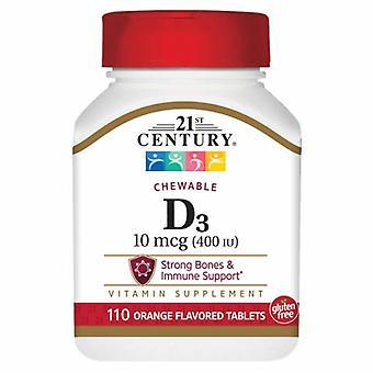 21st Century Vitamin D3 Orange Chewable, 10mcg, 400 IU 110 Tabs