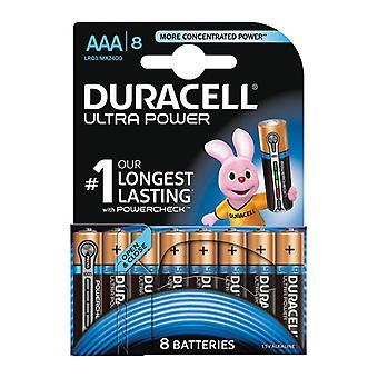 1x 8 AAA Duracell MX2400 B8 Alkaline Ultra Power Batteries Long Lasting