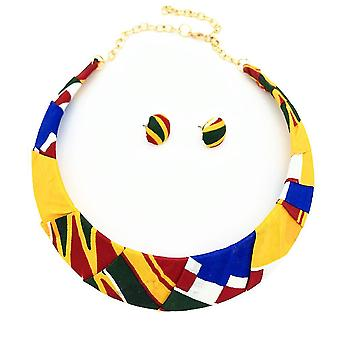 Women Necklace Set African Colored Woven Cloth Choker Collar For Daily Use