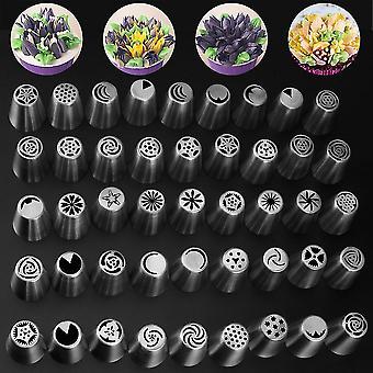 45pc Blomma Rörmunstycken Tårta Rostfritt Stål Cream Piping Set + Omvandlare