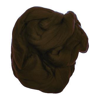 100% ren ny ull for nål tonering, 50g - mørk brun